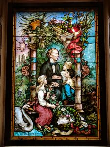 Hans Christian Andersen stained glass window